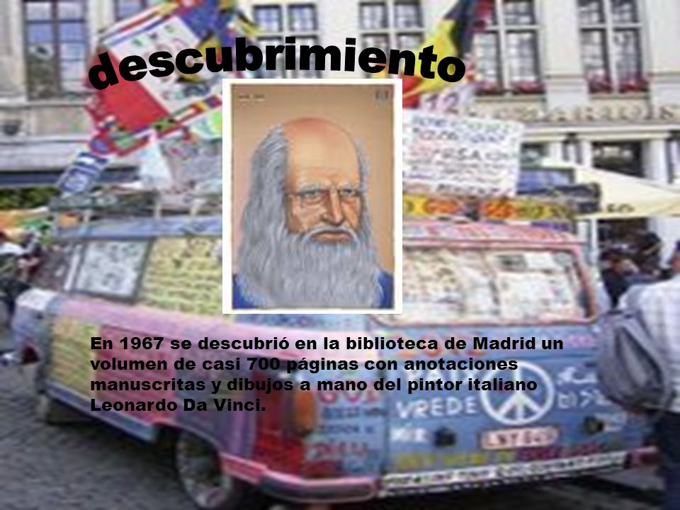 En 1967 se descubrió en la biblioteca de Madrid un volumen de casi 700 páginas con anotaciones manuscritas y dibujos a mano del pintor italiano Leonar