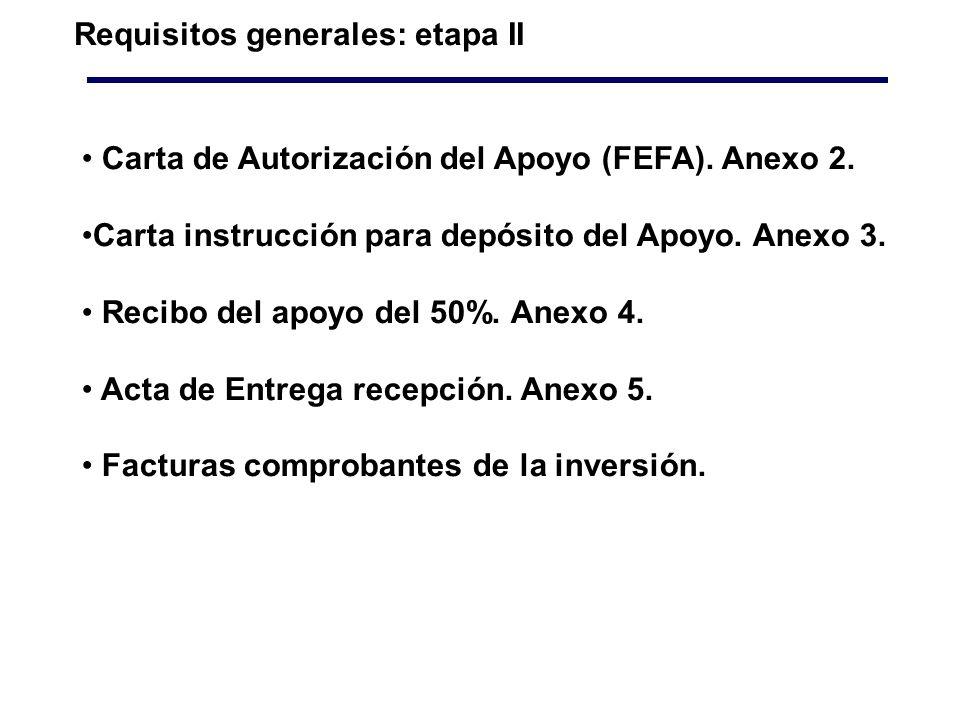 Requisitos generales: etapa II Carta de Autorización del Apoyo (FEFA).