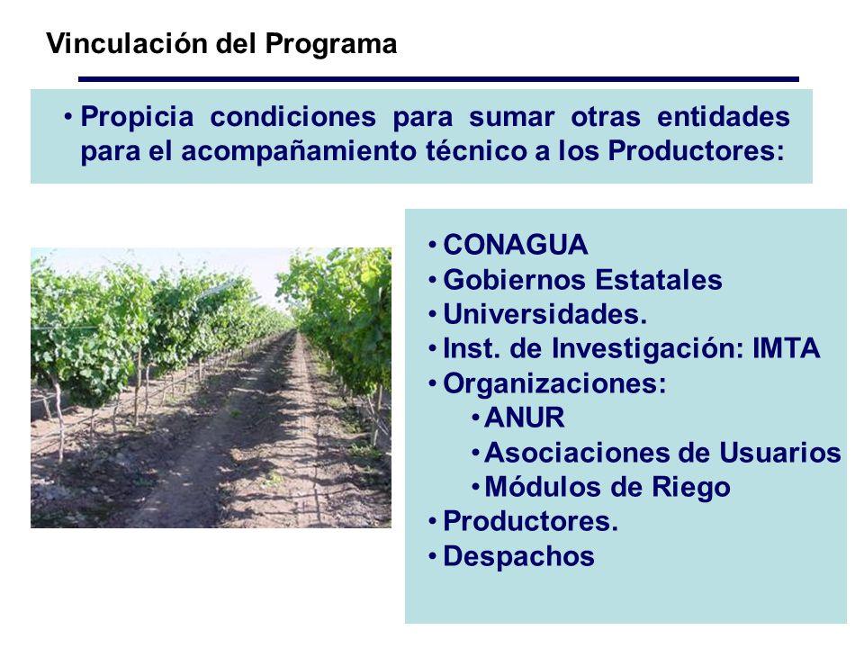 Propicia condiciones para sumar otras entidades para el acompañamiento técnico a los Productores: Vinculación del Programa CONAGUA Gobiernos Estatales Universidades.