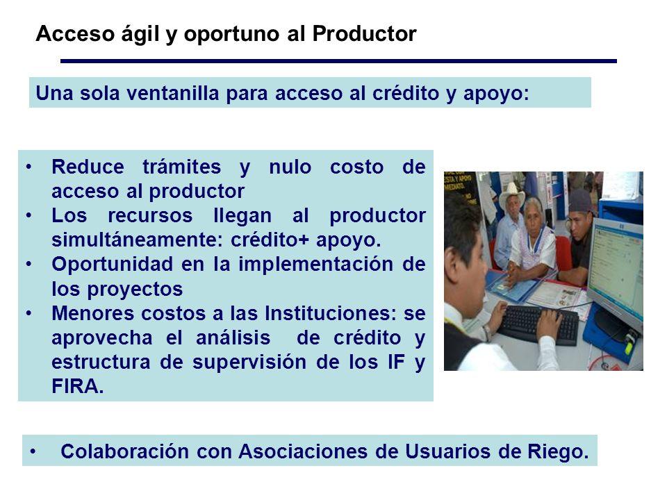 Una sola ventanilla para acceso al crédito y apoyo: Acceso ágil y oportuno al Productor Reduce trámites y nulo costo de acceso al productor Los recursos llegan al productor simultáneamente: crédito+ apoyo.