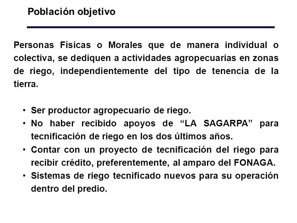 Población objetivo Personas Físicas o Morales que de manera individual o colectiva, se dediquen a actividades agropecuarias en zonas de riego, independientemente del tipo de tenencia de la tierra.