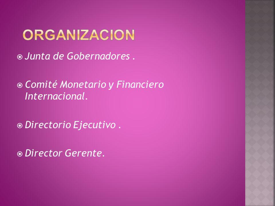 Junta de Gobernadores. Comité Monetario y Financiero Internacional. Directorio Ejecutivo. Director Gerente.
