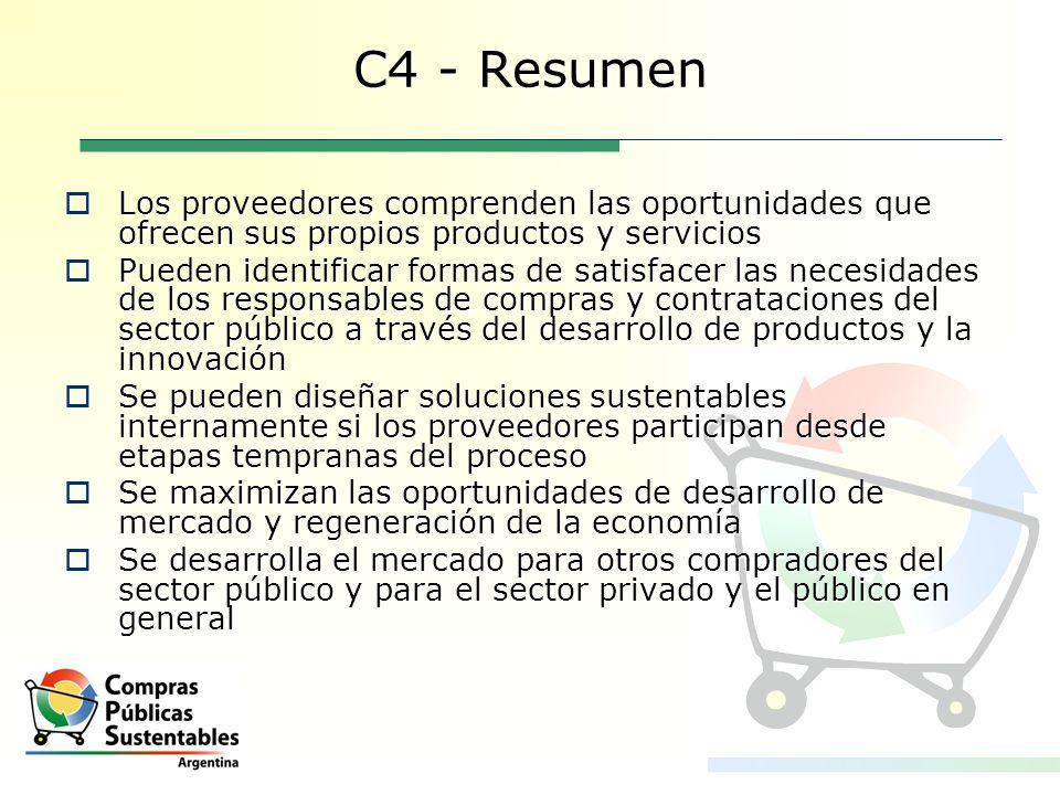 C4 - Resumen Los proveedores comprenden las oportunidades que ofrecen sus propios productos y servicios Los proveedores comprenden las oportunidades q