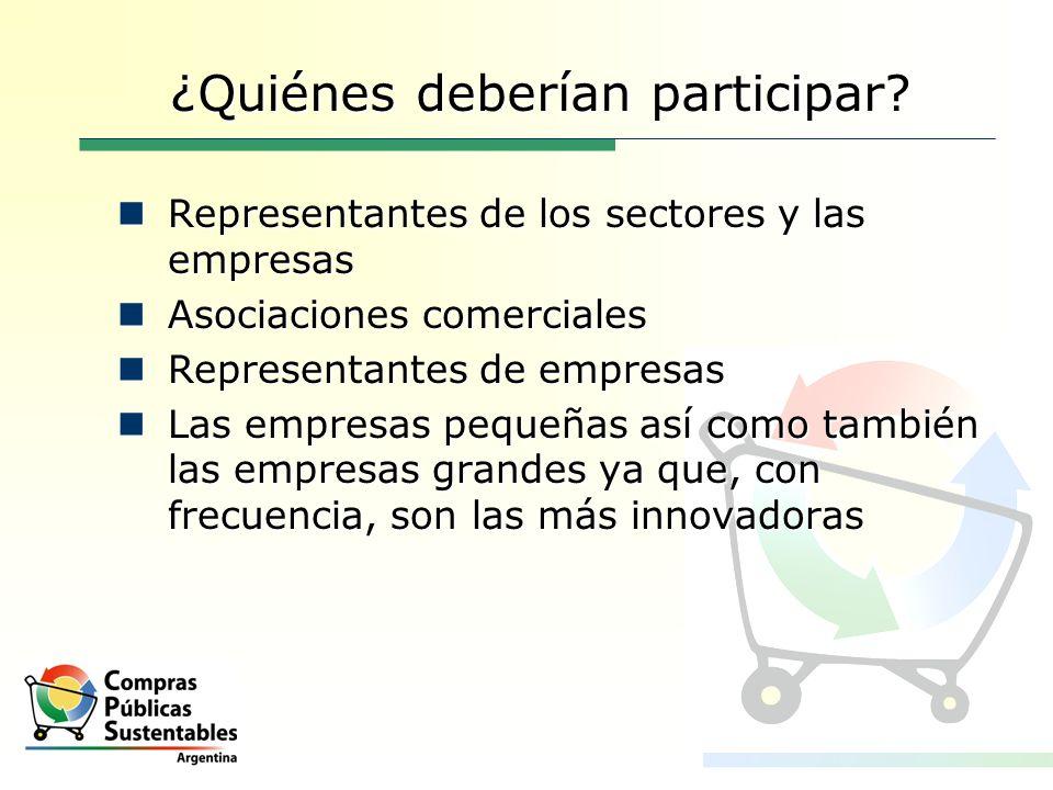 ¿Quiénes deberían participar? Representantes de los sectores y las empresas Representantes de los sectores y las empresas Asociaciones comerciales Aso