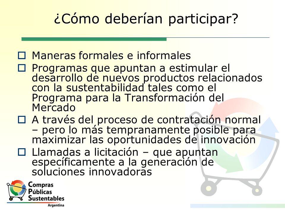 ¿Cómo deberían participar? Maneras formales e informales Maneras formales e informales Programas que apuntan a estimular el desarrollo de nuevos produ