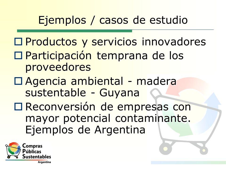 Ejemplos / casos de estudio Productos y servicios innovadores Productos y servicios innovadores Participación temprana de los proveedores Participació