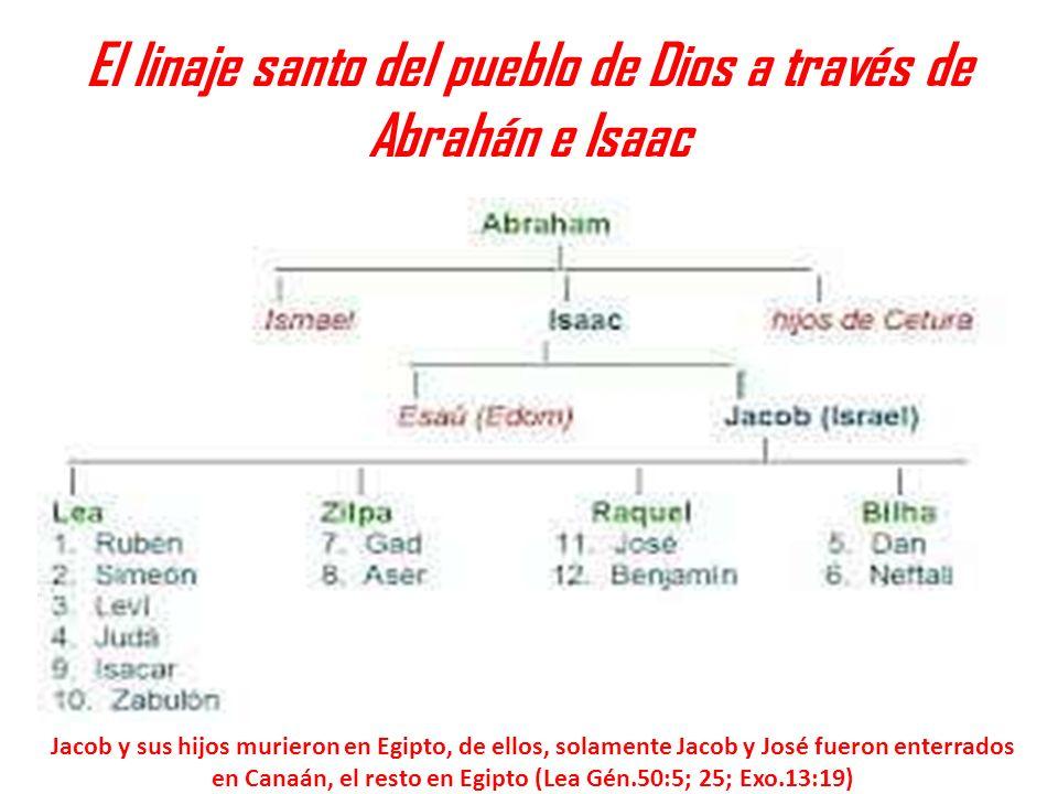 El linaje santo del pueblo de Dios a través de Abrahán e Isaac Jacob y sus hijos murieron en Egipto, de ellos, solamente Jacob y José fueron enterrado