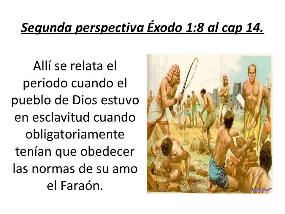 Segunda perspectiva Éxodo 1:8 al cap 14. Allí se relata el periodo cuando el pueblo de Dios estuvo en esclavitud cuando obligatoriamente tenían que ob