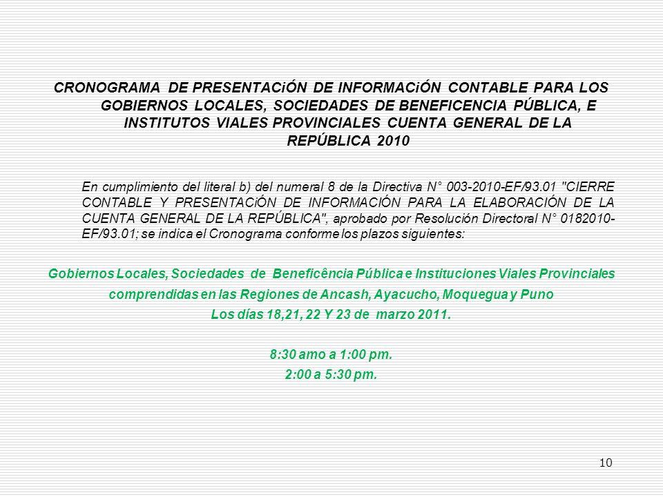 CRONOGRAMA DE PRESENTACiÓN DE INFORMACiÓN CONTABLE PARA LOS GOBIERNOS LOCALES, SOCIEDADES DE BENEFICENCIA PÚBLICA, E INSTITUTOS VIALES PROVINCIALES CUENTA GENERAL DE LA REPÚBLICA 2010 En cumplimiento del literal b) del numeral 8 de la Directiva N° 003-2010-EF/93.01 CIERRE CONTABLE Y PRESENTACiÓN DE INFORMACIÓN PARA LA ELABORACIÓN DE LA CUENTA GENERAL DE LA REPÚBLICA , aprobado por Resolución Directoral N° 0182010- EF/93.01; se indica el Cronograma conforme los plazos siguientes: Gobiernos Locales, Sociedades de Beneficência Pública e Instituciones Viales Provinciales comprendidas en las Regiones de Ancash, Ayacucho, Moquegua y Puno Los días 18,21, 22 Y 23 de marzo 2011.