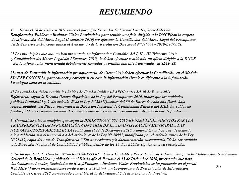 20 RESUMIENDO 1.Hasta el 28 de Febrero 2011 vence el plazo que tienen los Gobiernos Locales, Sociedades de Beneficencias Publicas e Institutos Viales Provinciales para remitir un oficio dirigido a la DNCP(con la carpeta de información del Marco Legal II semestre 2010) y/o efectuar la Conciliacion del Marco Legal del Presupuesto del II Semestre 2010, como indica el Artículo 4.- de la Resolución Directoral N° Nº 004 - 2010-EF/93.01.