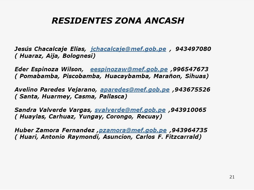 21 RESIDENTES ZONA ANCASH Jesús Chacalcaje Elías, jchacalcaje@mef.gob.pe, 943497080jchacalcaje@mef.gob.pe ( Huaraz, Aija, Bolognesi) Eder Espinoza Wilson, eespinozaw@mef.gob.pe,996547673eespinozaw@mef.gob.pe ( Pomabamba, Piscobamba, Huacaybamba, Marañon, Sihuas) Avelino Paredes Vejarano, aparedes@mef.gob.pe,943675526aparedes@mef.gob.pe ( Santa, Huarmey, Casma, Pallasca) Sandra Valverde Vargas, svalverde@mef.gob.pe,943910065svalverde@mef.gob.pe ( Huaylas, Carhuaz, Yungay, Corongo, Recuay) Huber Zamora Fernandez,pzamora@mef.gob.pe,943964735pzamora@mef.gob.pe ( Huari, Antonio Raymondi, Asuncion, Carlos F.