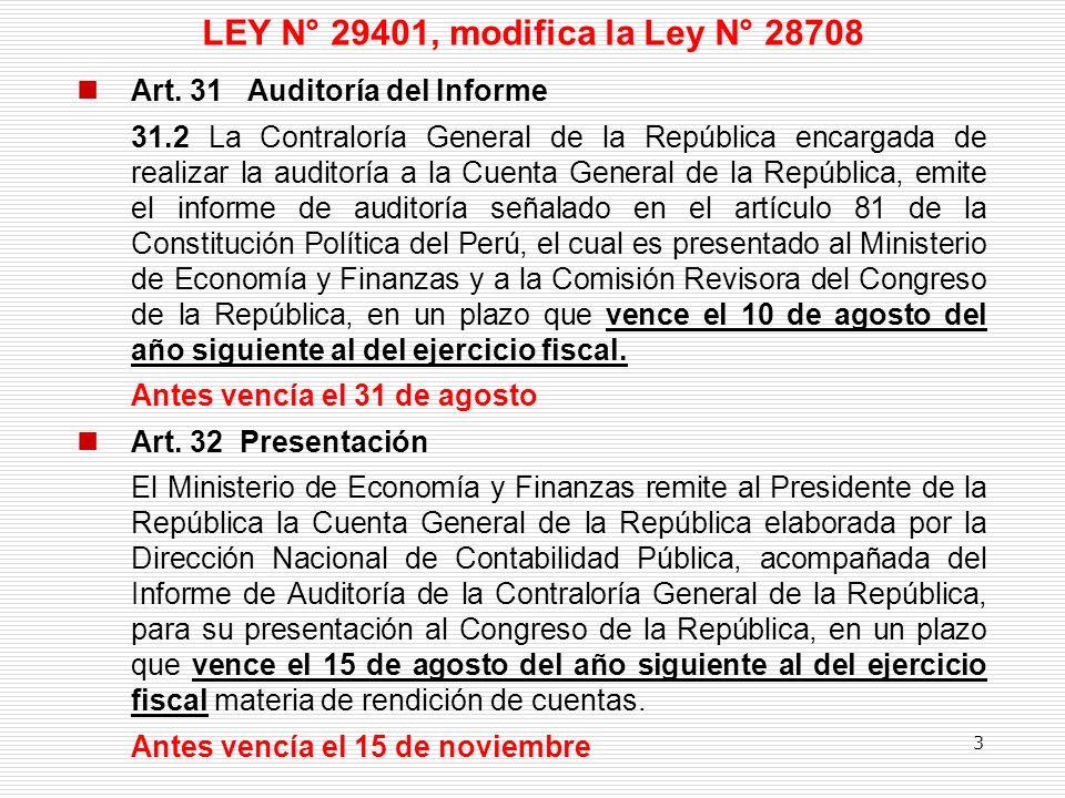 LEY N° 29401, modifica la Ley N° 28708 Art. 31 Auditoría del Informe 31.2 La Contraloría General de la República encargada de realizar la auditoría a