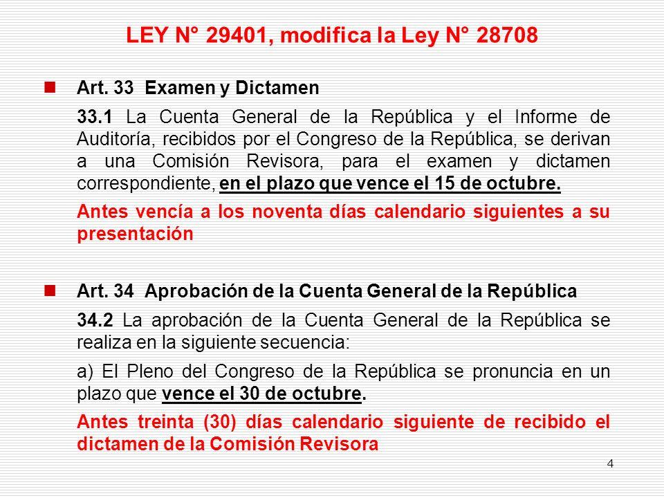 LEY N° 29401, modifica la Ley N° 28708 Art. 33 Examen y Dictamen 33.1 La Cuenta General de la República y el Informe de Auditoría, recibidos por el Co