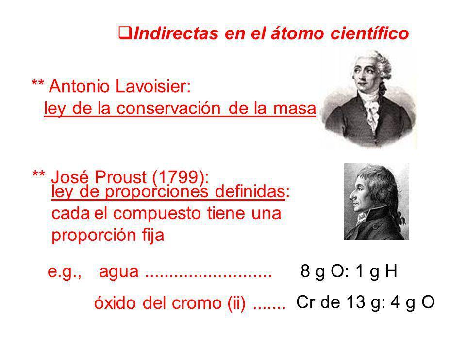 Indirectas en el átomo científico ** Antonio Lavoisier: ley de la conservación de la masa ** José Proust (1799): ley de proporciones definidas: cada e