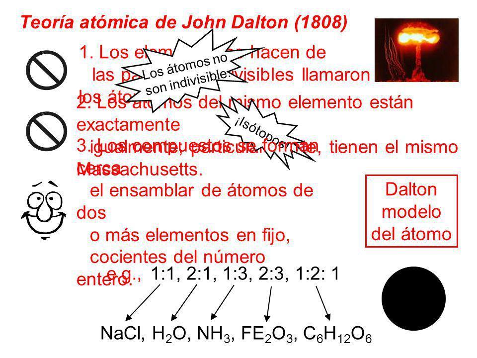 1. Los elementos se hacen de las partículas indivisibles llamaron los átomos. 2. Los átomos del mismo elemento están exactamente igualmente; particula