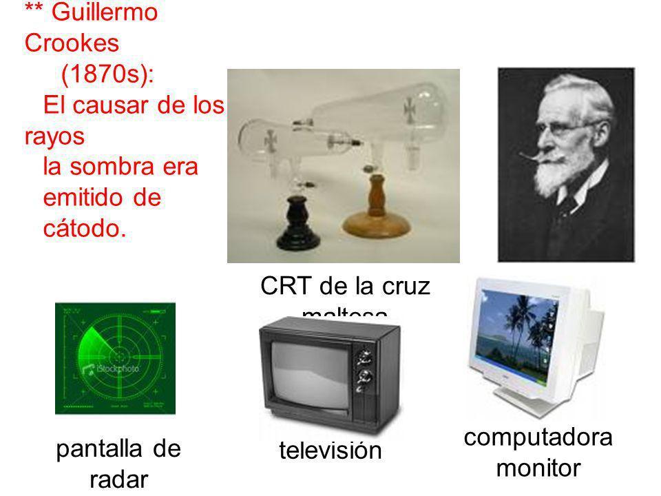 ** Guillermo Crookes (1870s): El causar de los rayos la sombra era emitido de cátodo. CRT de la cruz maltesa pantalla de radar televisión computadora