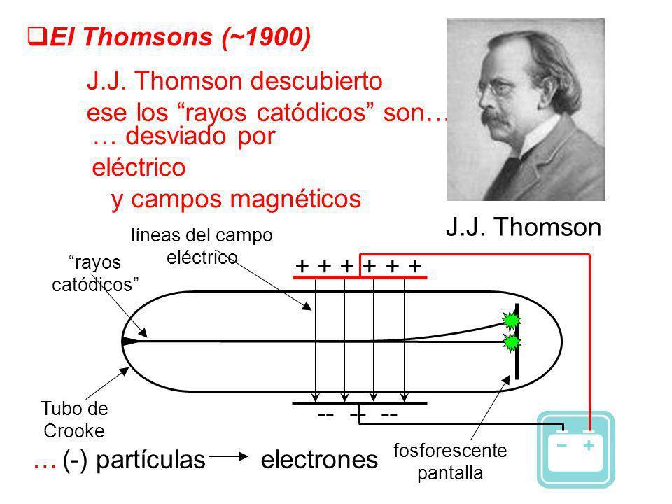 El Thomsons (~1900) J.J. Thomson descubierto ese los rayos catódicos son… … desviado por eléctrico y campos magnéticos J.J. Thomson …(-) partículas el