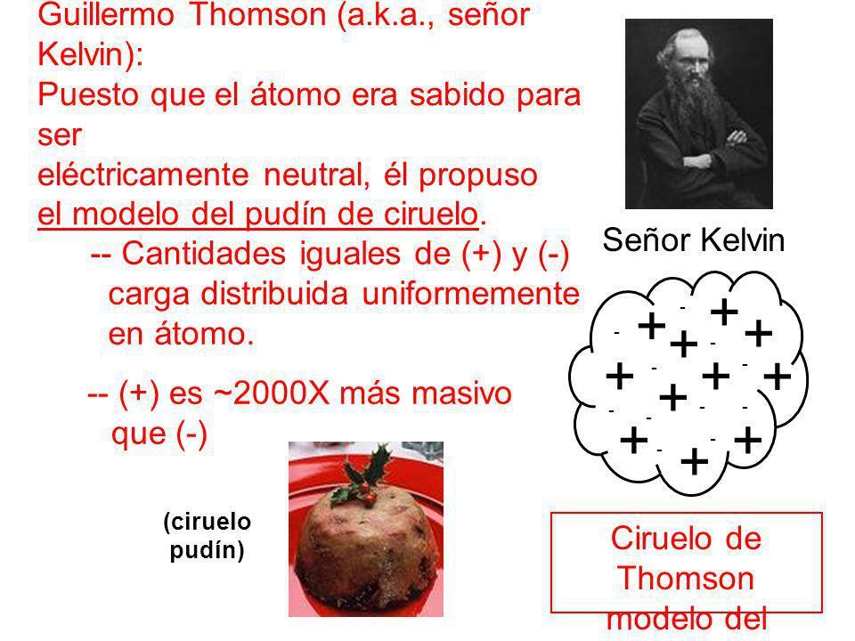 Guillermo Thomson (a.k.a., señor Kelvin): Puesto que el átomo era sabido para ser eléctricamente neutral, él propuso el modelo del pudín de ciruelo. S