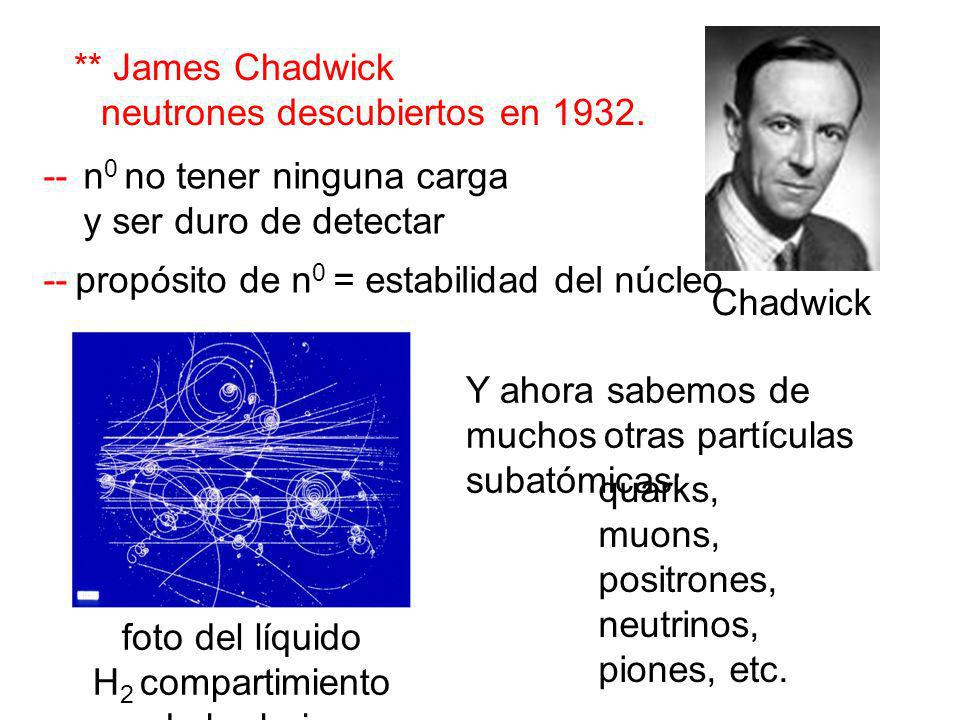 Y ahora sabemos de muchos otras partículas subatómicas: Chadwick ** James Chadwick neutrones descubiertos en 1932. -- n 0 no tener ninguna carga y ser