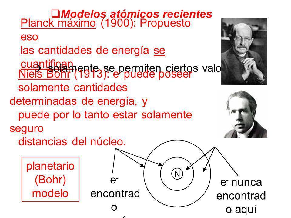 Modelos atómicos recientes Planck máximo (1900): Propuesto eso las cantidades de energía se cuantifican solamente se permiten ciertos valores Niels Bo