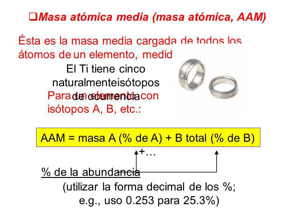 Masa atómica media (masa atómica, AAM) Ésta es la masa media cargada de todos los átomos de un elemento, medido en a.m.u. Para un elemento con isótopo
