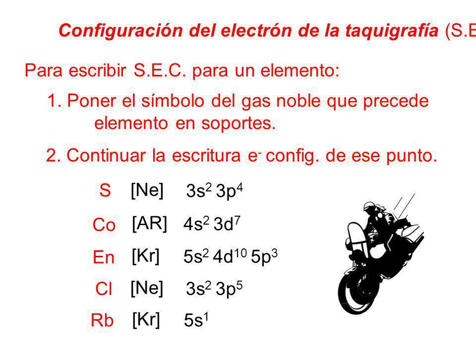 S Configuración del electrón de la taquigrafía (S.E.C.) Para escribir S.E.C. para un elemento: 1. Poner el símbolo del gas noble que precede elemento