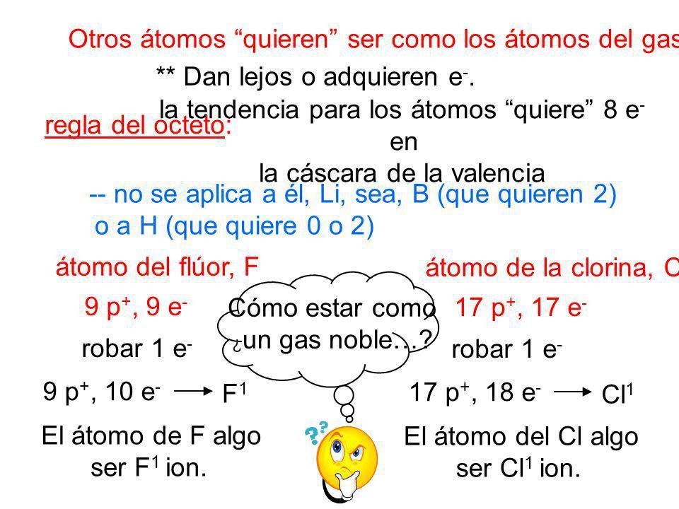 regla del octeto: la tendencia para los átomos quiere 8 e - en la cáscara de la valencia Otros átomos quieren ser como los átomos del gas noble. -- no