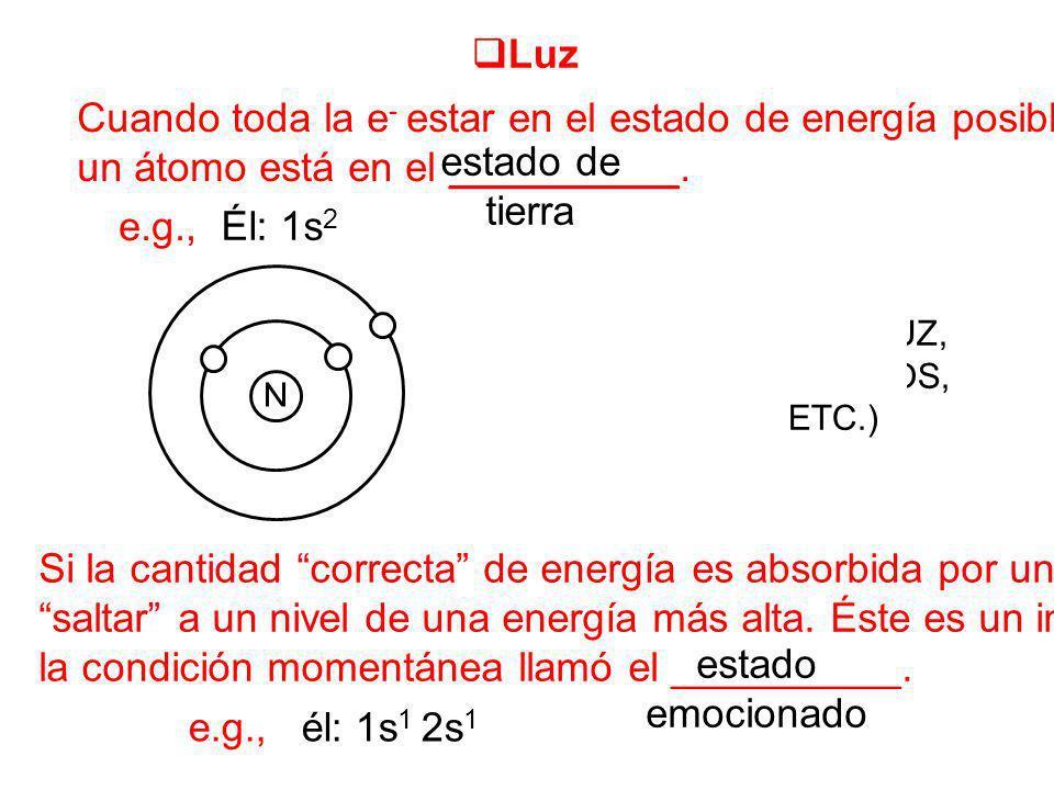 ENERGÍA (CALOR, LUZ, ELÉCTRICOS, ETC.) Luz Cuando toda la e - estar en el estado de energía posible más bajo, un átomo está en el __________. estado d