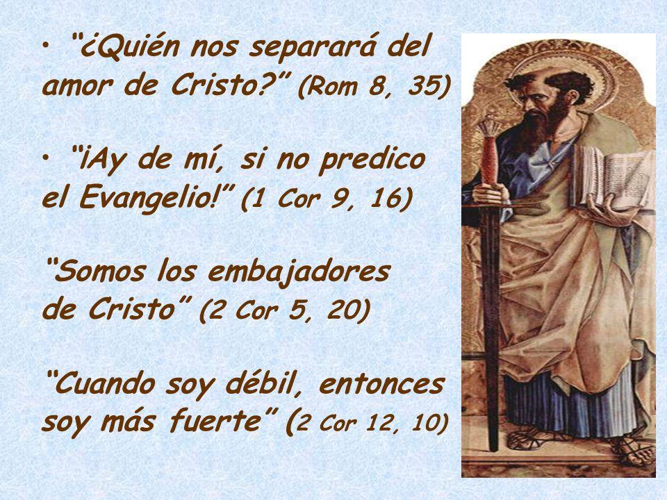 ¿Quién nos separará del amor de Cristo? (Rom 8, 35) ¡Ay de mí, si no predico el Evangelio! (1 Cor 9, 16) Somos los embajadores de Cristo (2 Cor 5, 20)