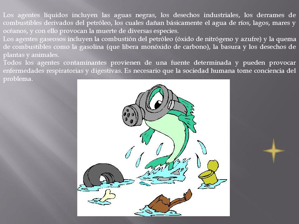 Los agentes líquidos incluyen las aguas negras, los desechos industriales, los derrames de combustibles derivados del petróleo, los cuales dañan básic
