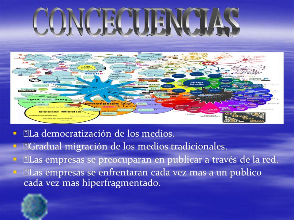 La democratización de los medios. Gradual migración de los medios tradicionales.