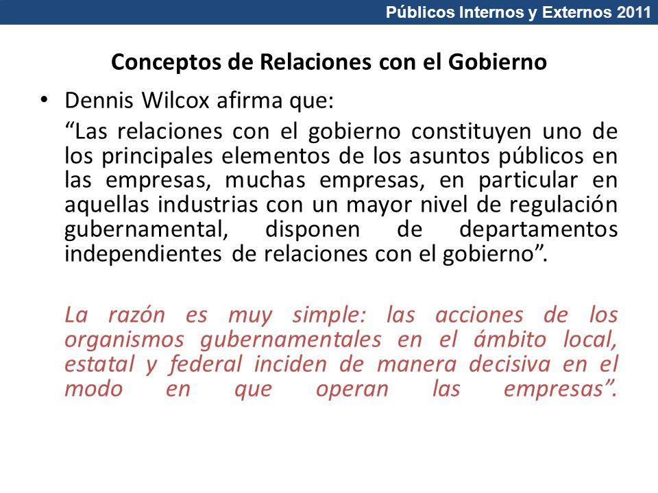 Públicos Internos y Externos 2011 Conceptos de Relaciones con el Gobierno Dennis Wilcox afirma que: Las relaciones con el gobierno constituyen uno de