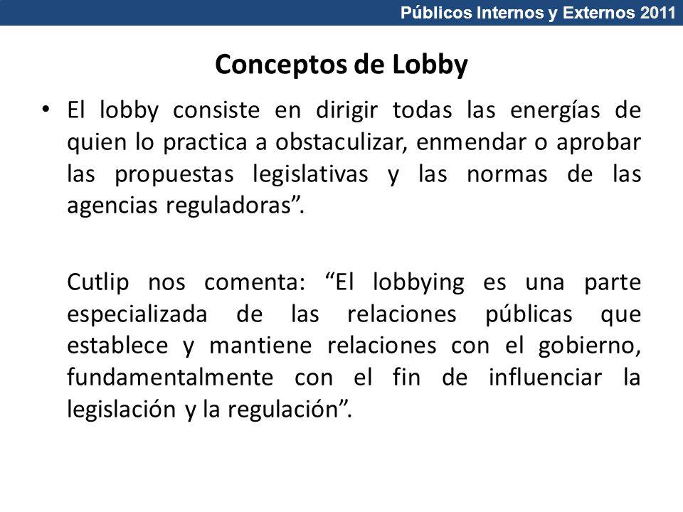Públicos Internos y Externos 2011 Conceptos de Lobby El lobby consiste en dirigir todas las energías de quien lo practica a obstaculizar, enmendar o a