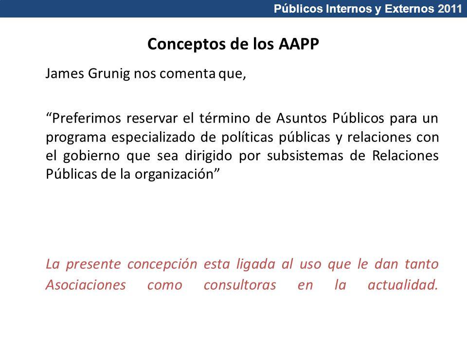 Públicos Internos y Externos 2011 Conceptos de los AAPP James Grunig nos comenta que, Preferimos reservar el término de Asuntos Públicos para un progr