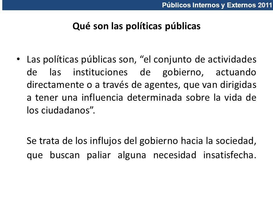Públicos Internos y Externos 2011 Qué son las políticas públicas Las políticas públicas son, el conjunto de actividades de las instituciones de gobier