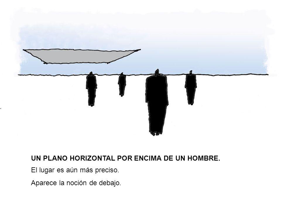 UN PLANO HORIZONTAL POR ENCIMA DE UN HOMBRE. El lugar es aún más preciso. Aparece la noción de debajo.