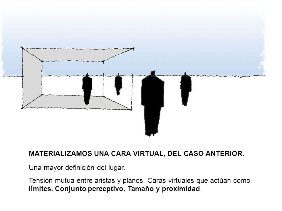 MATERIALIZAMOS UNA CARA VIRTUAL, DEL CASO ANTERIOR. Una mayor definición del lugar. Tensión mutua entre aristas y planos. Caras virtuales que actúan c