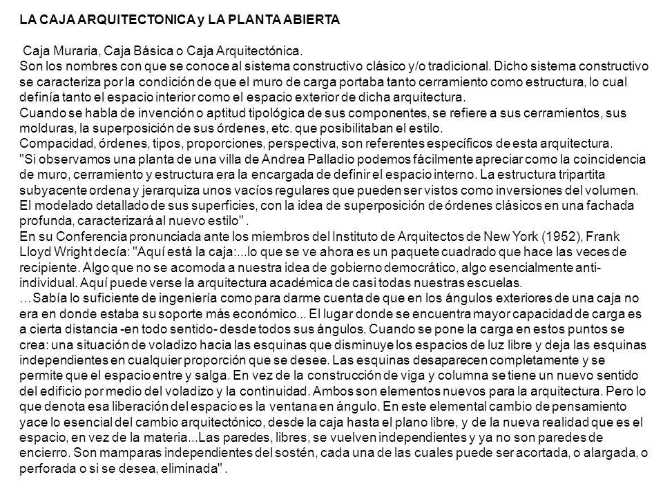 LA CAJA ARQUITECTONICA y LA PLANTA ABIERTA Caja Muraria, Caja Básica o Caja Arquitectónica. Son los nombres con que se conoce al sistema constructivo