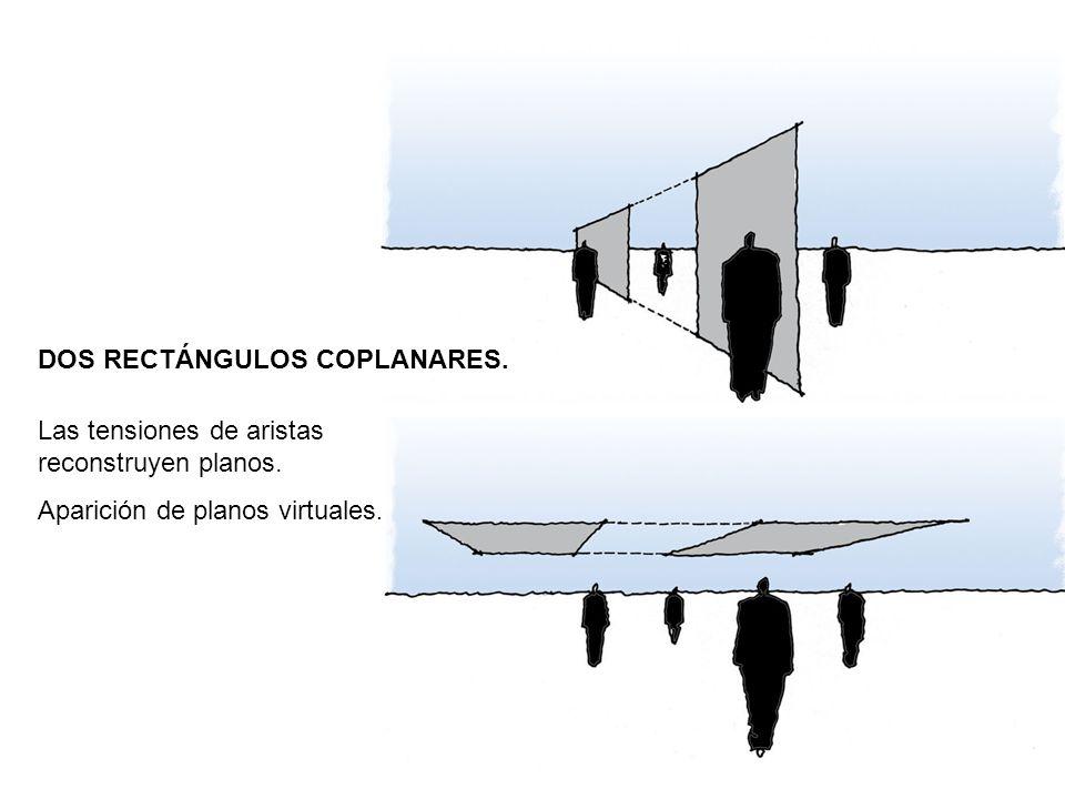 DOS RECTÁNGULOS COPLANARES. Las tensiones de aristas reconstruyen planos. Aparición de planos virtuales.