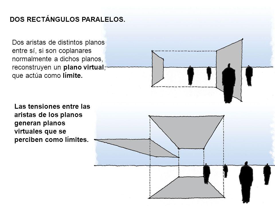 DOS RECTÁNGULOS PARALELOS. Dos aristas de distintos planos entre sí, si son coplanares normalmente a dichos planos, reconstruyen un plano virtual, que