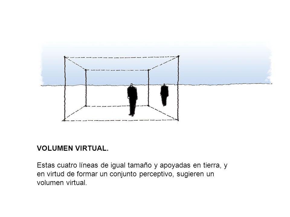 VOLUMEN VIRTUAL. Estas cuatro líneas de igual tamaño y apoyadas en tierra, y en virtud de formar un conjunto perceptivo, sugieren un volumen virtual.