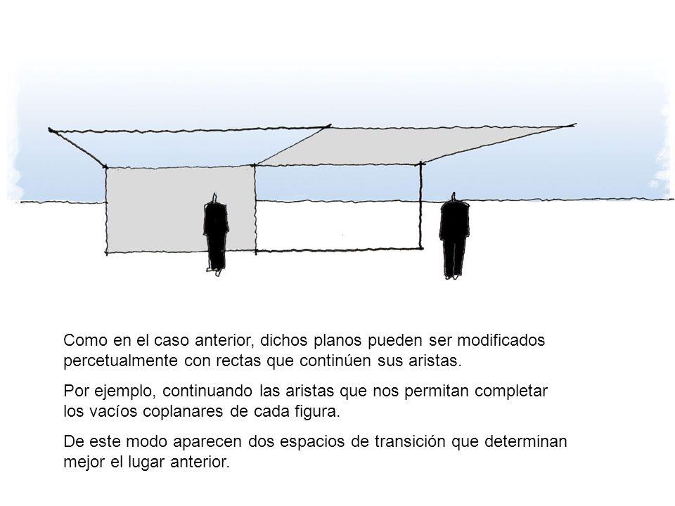 Como en el caso anterior, dichos planos pueden ser modificados percetualmente con rectas que continúen sus aristas. Por ejemplo, continuando las arist