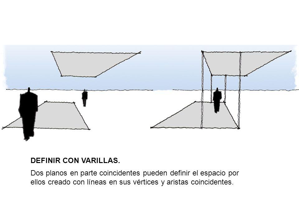 DEFINIR CON VARILLAS. Dos planos en parte coincidentes pueden definir el espacio por ellos creado con líneas en sus vértices y aristas coincidentes.