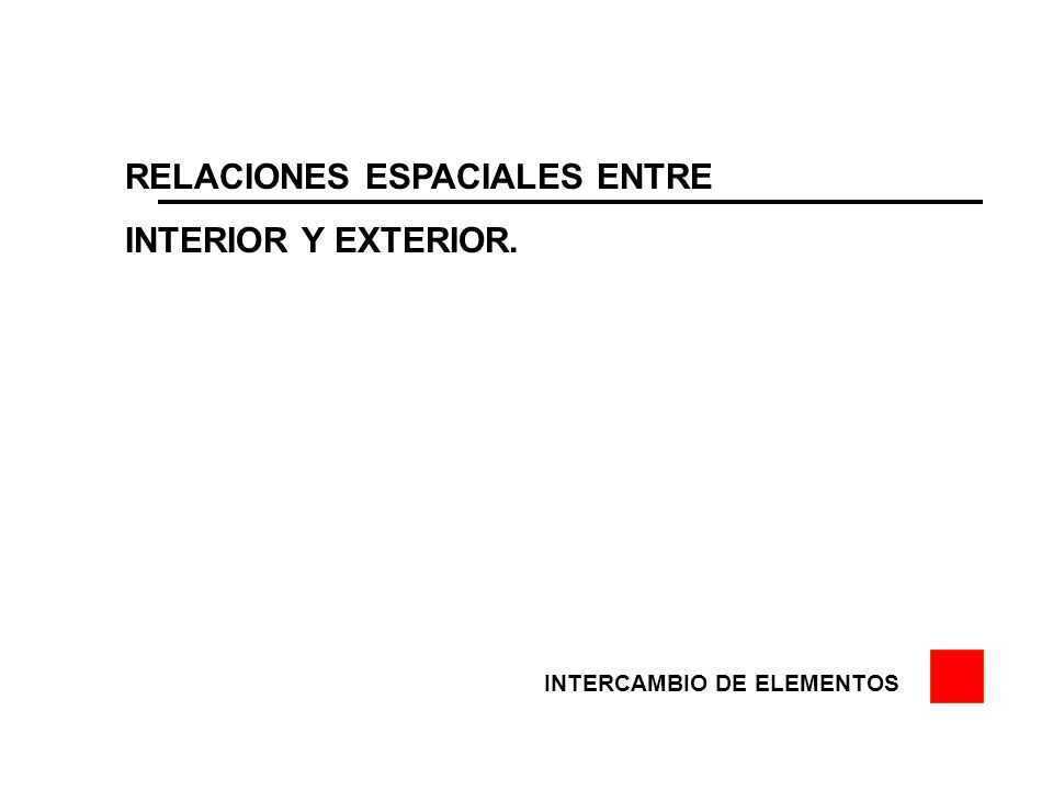 RELACIONES ESPACIALES ENTRE INTERIOR Y EXTERIOR. INTERCAMBIO DE ELEMENTOS