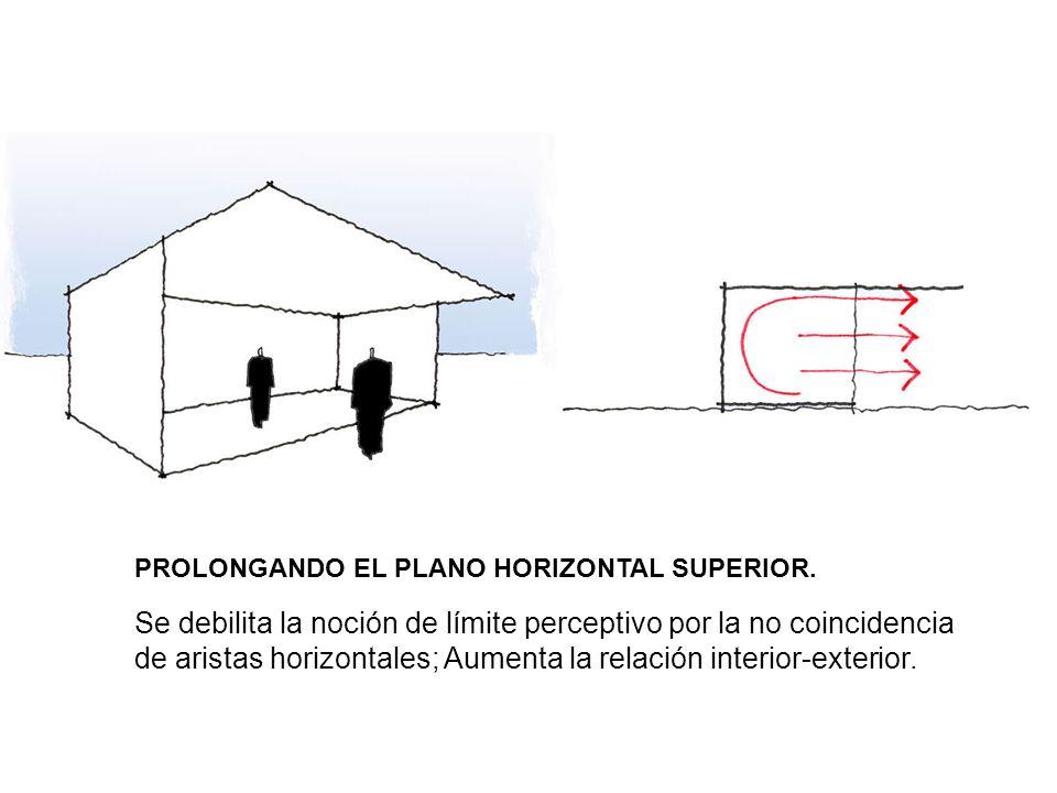 PROLONGANDO EL PLANO HORIZONTAL SUPERIOR. Se debilita la noción de límite perceptivo por la no coincidencia de aristas horizontales; Aumenta la relaci