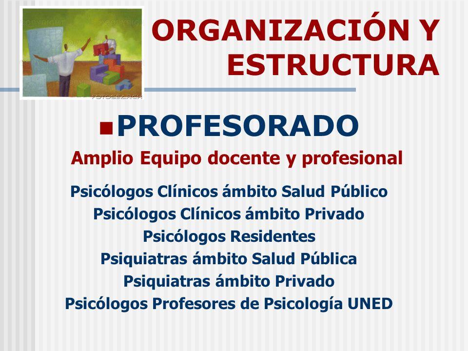 ORGANIZACIÓN Y ESTRUCTURA PROFESORADO Amplio Equipo docente y profesional Psicólogos Clínicos ámbito Salud Público Psicólogos Clínicos ámbito Privado