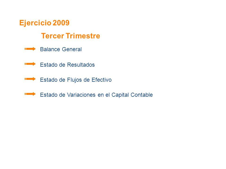 Ejercicio 2009 Balance General Estado de Resultados Estado de Flujos de Efectivo Estado de Variaciones en el Capital Contable Tercer Trimestre