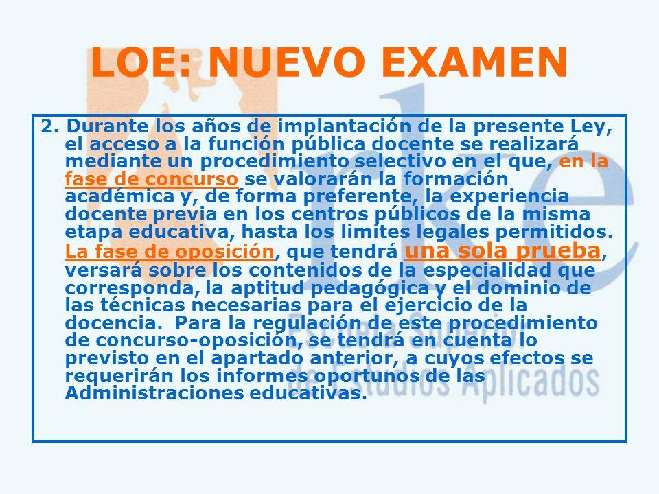 LOE: NUEVA ESPECIALIDAD Artículo 93: PROFESORADO DE EDUCACIÓN PRIMARIA 1.