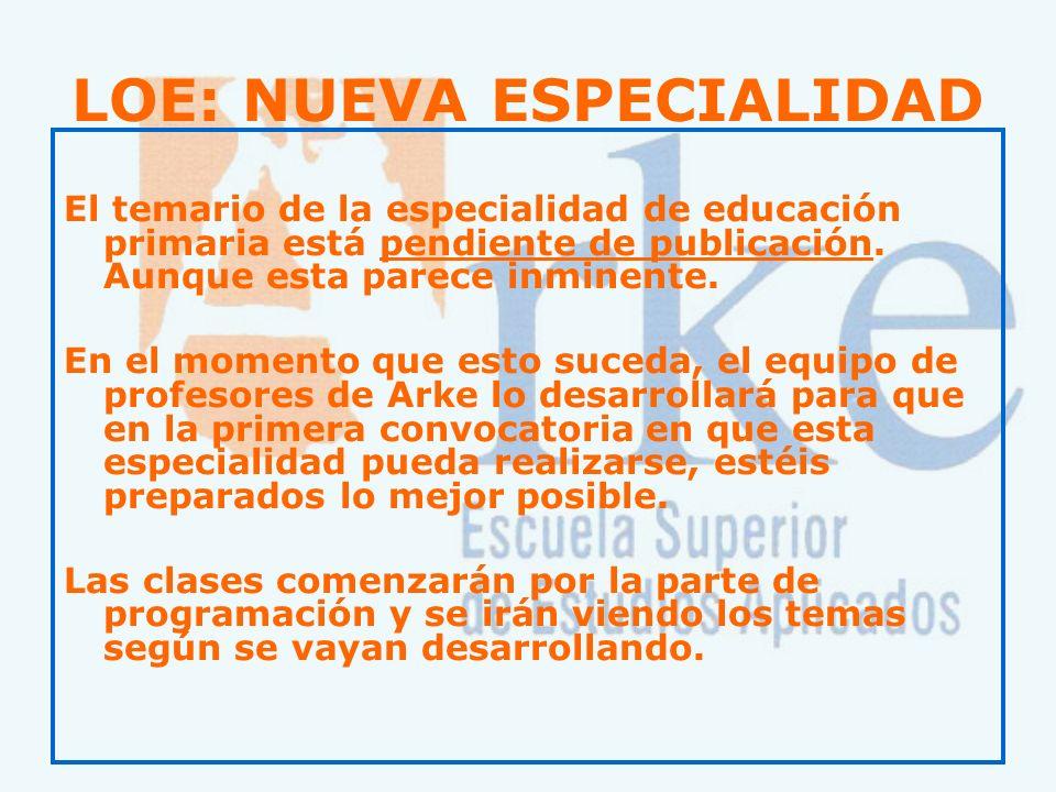 LOE: NUEVA ESPECIALIDAD El temario de la especialidad de educación primaria está pendiente de publicación. Aunque esta parece inminente. En el momento