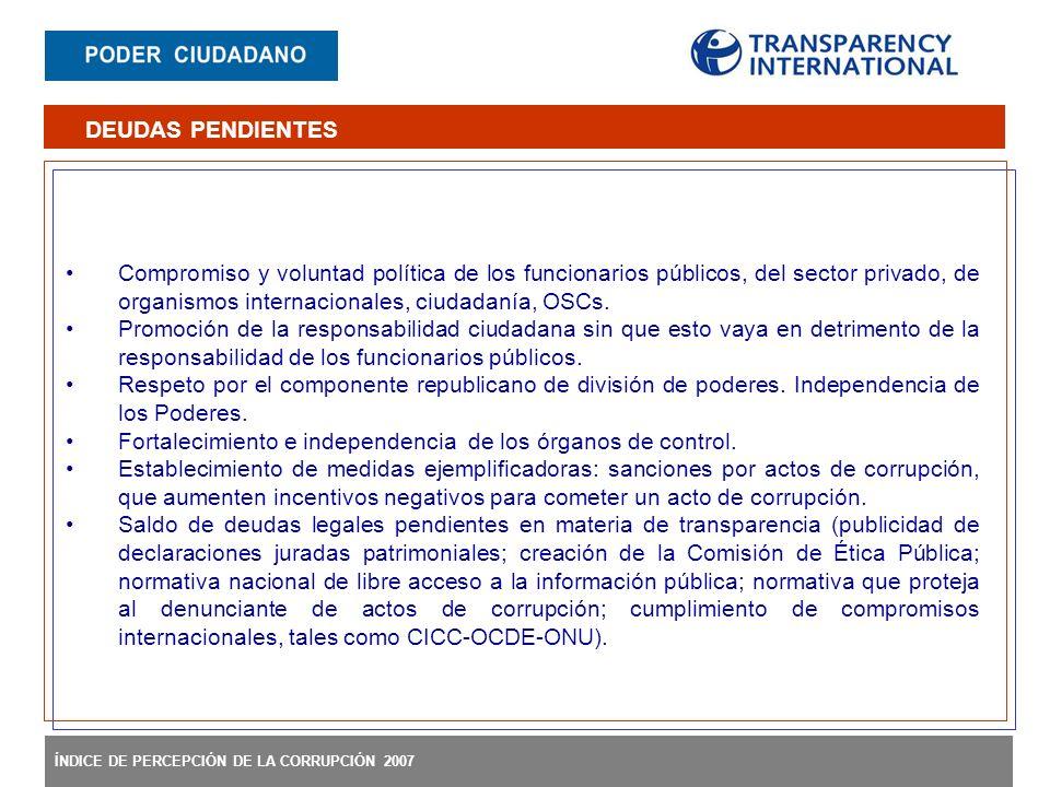 ÍNDICE DE PERCEPCIÓN DE LA CORRUPCIÓN 2007 Compromiso y voluntad política de los funcionarios públicos, del sector privado, de organismos internaciona